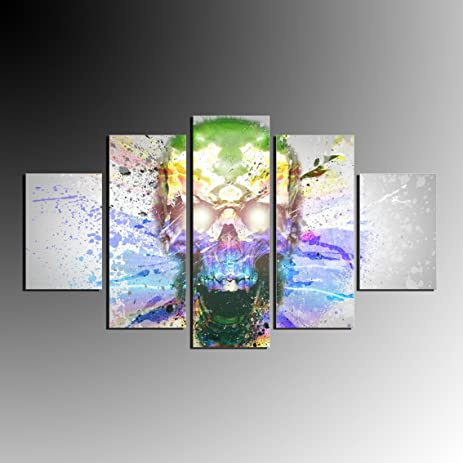 Amazon.com: 5 PCS Colourful Skull Splash Art Oil Painting Abstract ...