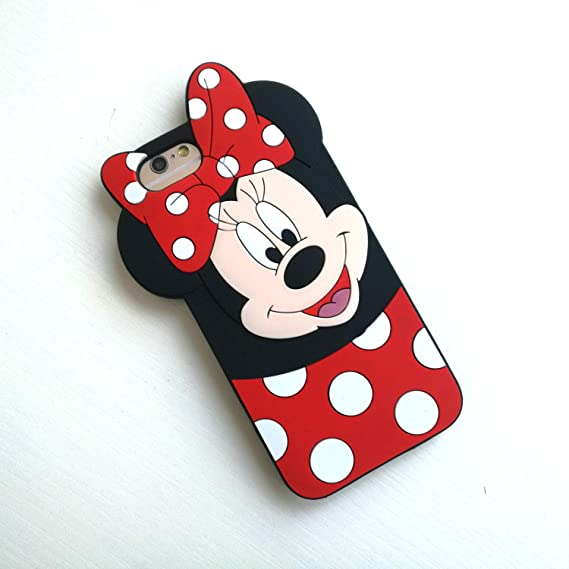 the best attitude 9f984 90c25 Cute Cartoon Black Minnie Mouse Mickey Mouse Silicone Soft Case Cover Cases  for Apple iPhone4s 5 5s SE 6 6s 7 8 Plus X XR Max (Minnie, iPhone 6 6S)