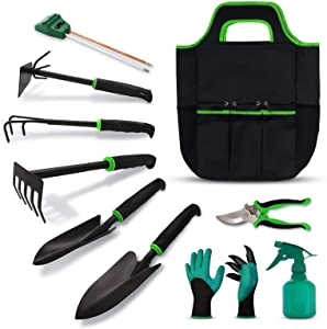 Myuilor Garden Tools Set 10 Pieces, Gardening Tool Kit with Heavy Duty Aluminum Hand Tool and Digging Claw Gardening Gloves Gardening Gift for Men Women,Green