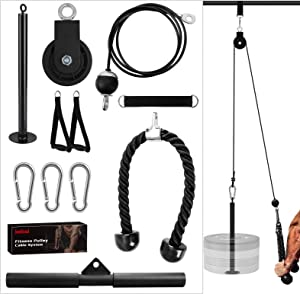 Kalkal Cable Pulley System, Upgraded 11 pcs Fitness LAT and Lift Pull Down Machine Attachments Home Gym Workout Equipment for Training Triceps, Biceps