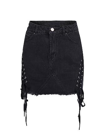 b4c05daaf Simplee Apparel Women's High Waisted Lace up Denim Skirt Summer Bodycon  A-Line Mini Jean
