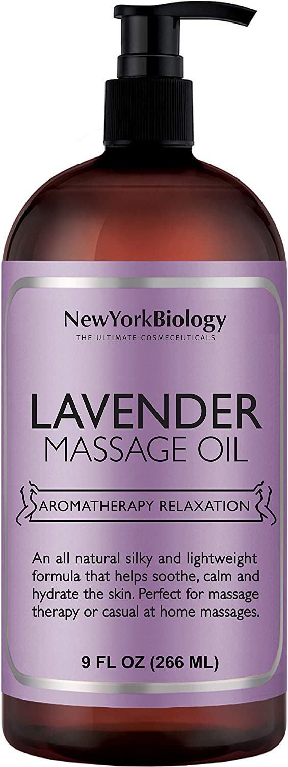 New York Biology Lavender Massage Oil - 100% Natural Ingredients - Sensual Body Oil Made with Essential Oils for Muscle Relaxation and Deep Tissue - 9 oz : Beauty
