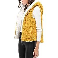 theSimple Women's Cute Faux Sherpa Hoodie Jacket Coat – Hooded Faux Fur Vest Sleeveless Jacket