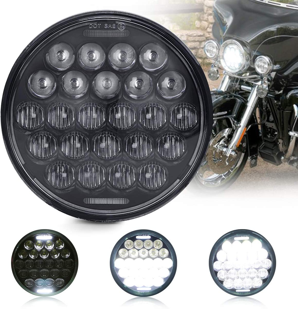 5.75 Inch Led Headlight 5-3//4 Inch Round Headlight with DRL High Low Beam for Harley Dyna Sportster Iron 883 Street Rod Softail Motorcycle