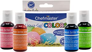 Chefmaster Liqua-Gel (4-Pack) Easter Egg Decorating Kit for Kids, 2.8oz All Natural Food Color, Vibrant Food Colors for Easter Treats, Holiday Desserts & More, Neon Food Coloring & Egg Coloring Drops