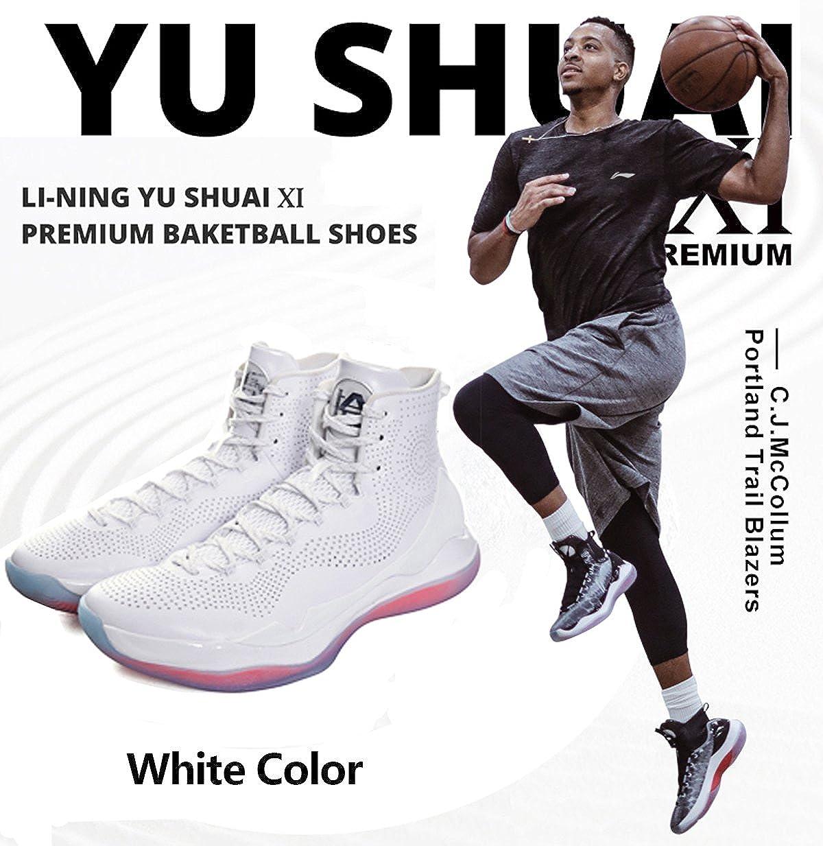 hot sales 2bf15 d3d7c Amazon.com   LI-NING CJ McCollum Men YU Shuai Ⅺ Premium Professional  Basketball Shoes SAS Support Breathable High Top Sneakers White ABAM059  US10   ...