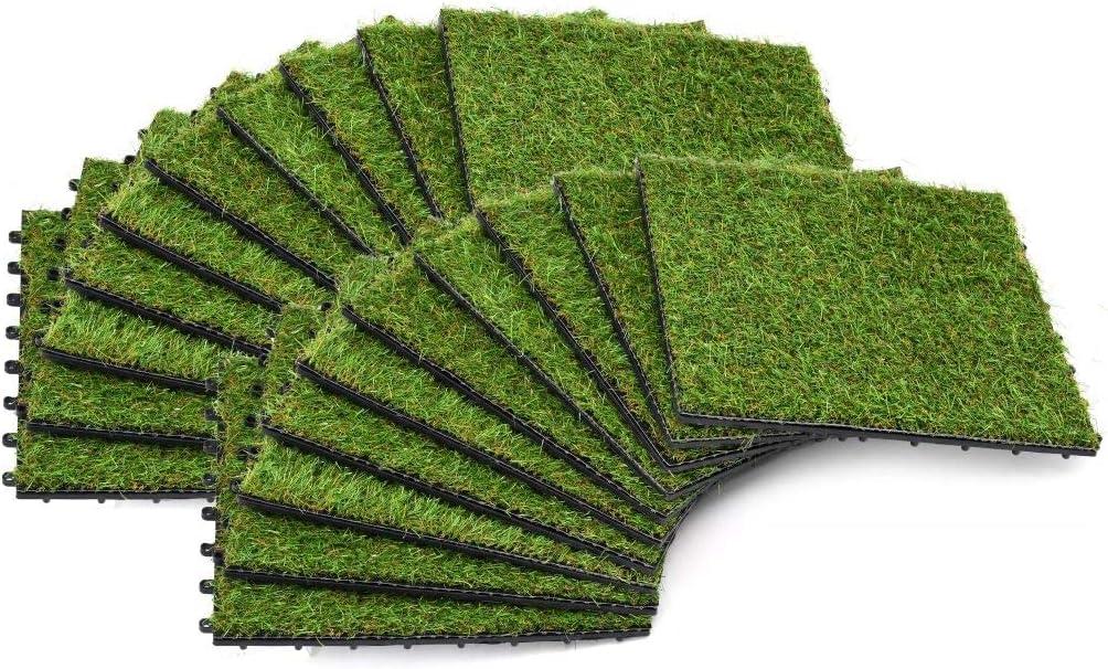 Tidyard 20 uds Azulejos con Césped Artificial Estera Cesped Alfombra para Jardin Patio Terraza Balcon Resistente a Los Rayos UV Combinación de 4 Colores de Hierba 30x30cm Verde