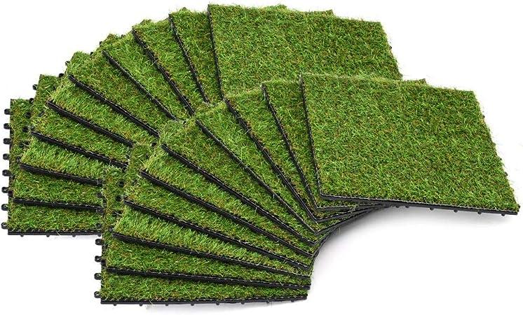 Tidyard 20 uds Azulejos con Césped Artificial Estera Cesped Alfombra para Jardin Patio Terraza Balcon Resistente a Los Rayos UV Combinación de 4 Colores de Hierba 30x30cm Verde: Amazon.es: Hogar