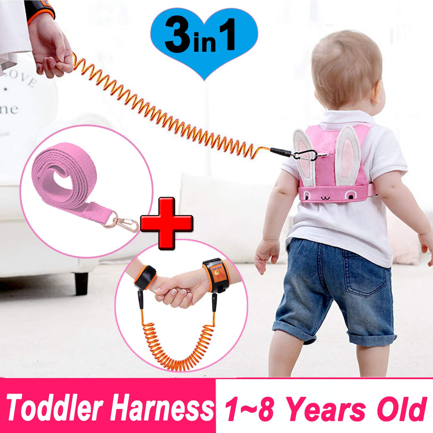 Kids Harness /& Toddler Leash for for Walking,Toddler Safety Harnesses Leashes,Safety Harness with Lock for Kids,Anti Lost Wrist Link Safety Wrist Link for Age 1-8 Year Old Boy Girl to Outdoor,Mall,Zoo