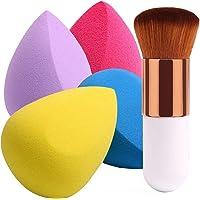 BEAKEY 4+1Pcs Makeup Sponges with Powder Brush, Foundation Blending Sponge for Liquid Cream and Powder, Professional…