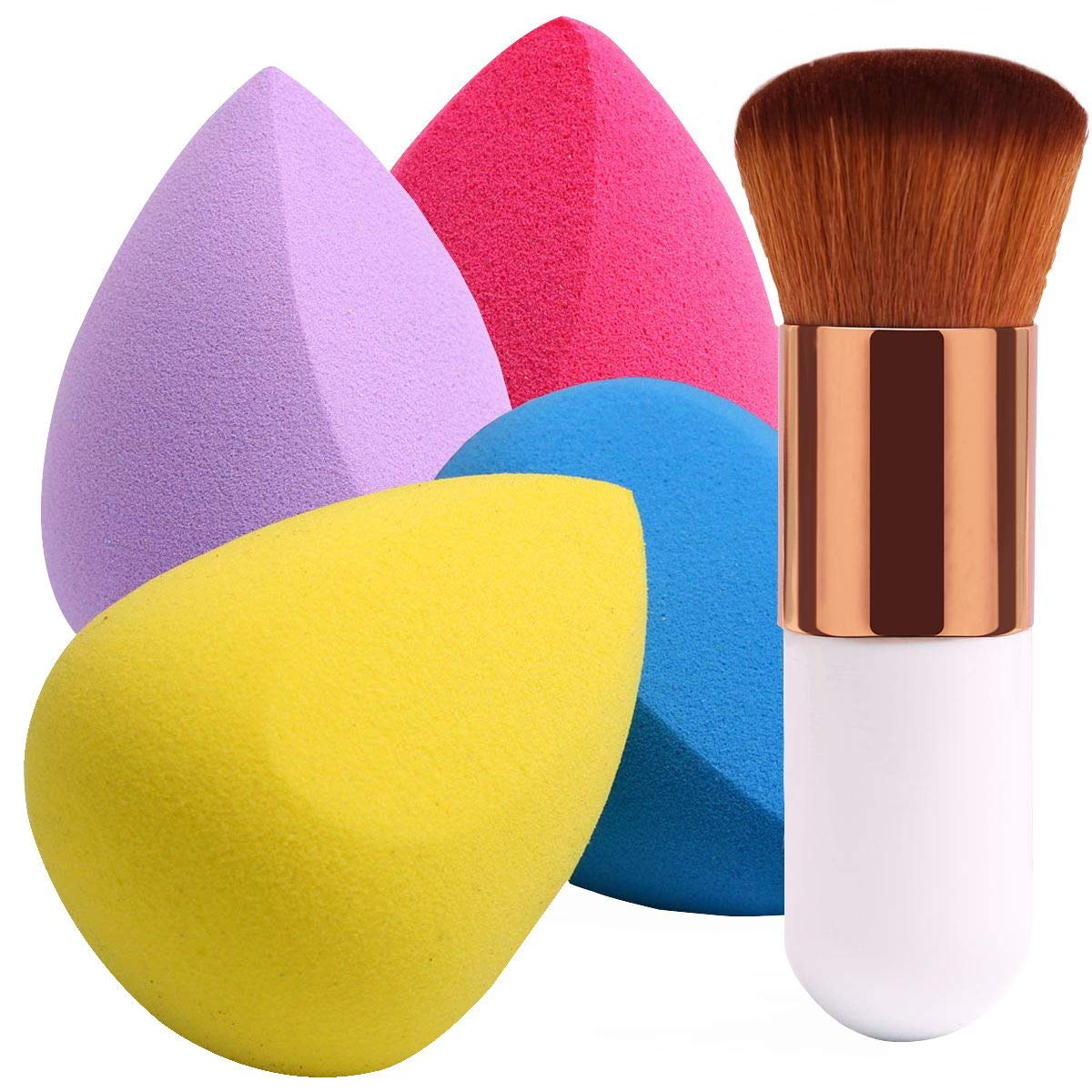 BEAKEY 4+1Pcs Makeup Sponges with Powder Brush, Foundation Blending Sponge for Liquid Cream and Powder, Professional Beauty Sponge Blender & Kabuki Brush