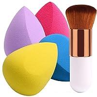 BEAKEY 4+1Pcs Makeup Sponges with Powder Brush, Foundation Blending Sponge for Liquid...