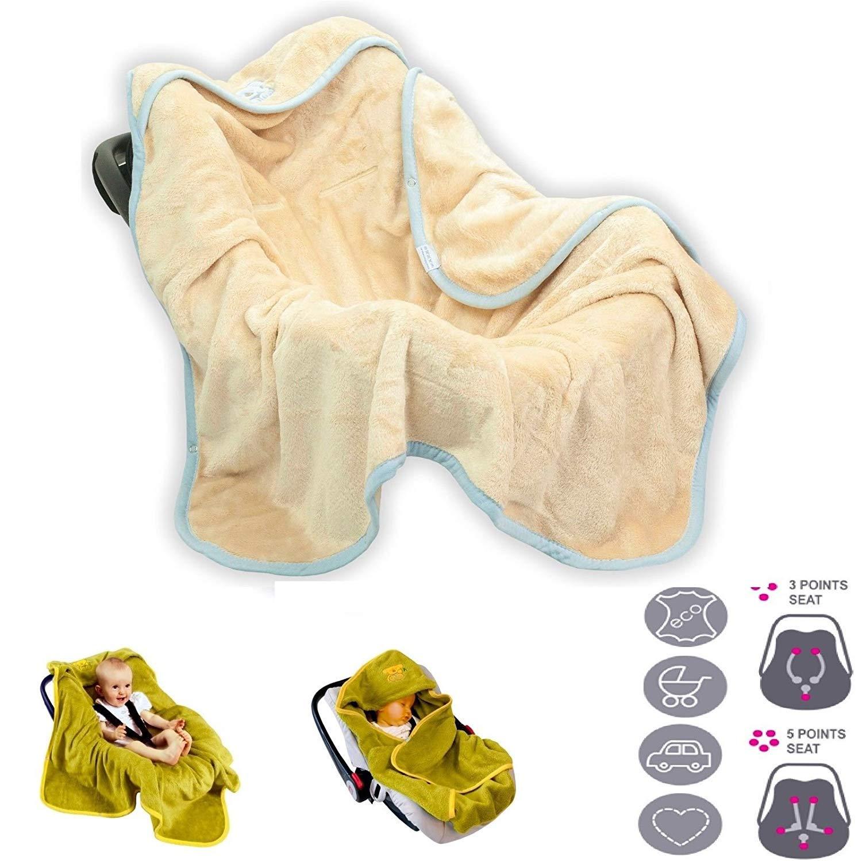 f/ür Maxi-Cosi Beige BabyMatex ** Einschlagdecke KOALA Soft 95x95cm ** Universal f/ür Babyschale Buggy oder Babybett Autositz f/ür Kinderwagen R/ömer z.B