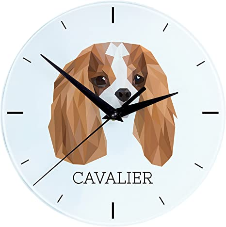 Amazon Com Cavalier Wall Clock With An Image Of A Dog Geometric Home Kitchen