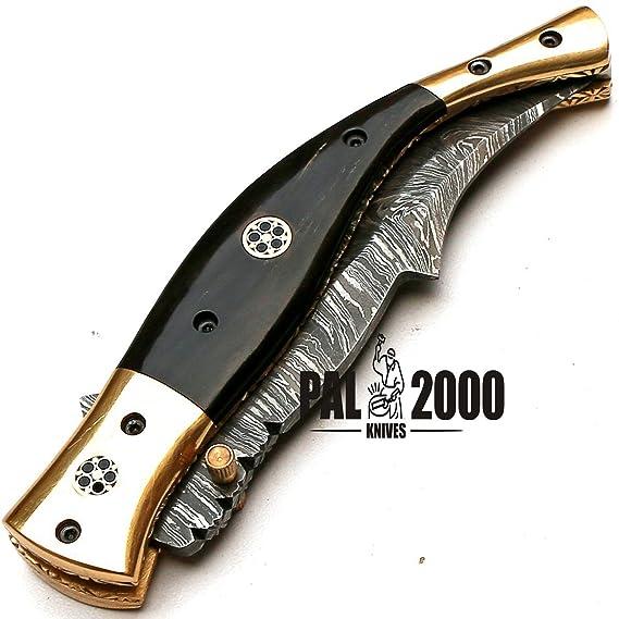 Cuchillo de Damasco con hoja de acero de Damasco 8735, hecho a mano, cuchillo de colección, navaja plegable, cuchillo de caza, con funda de cuero