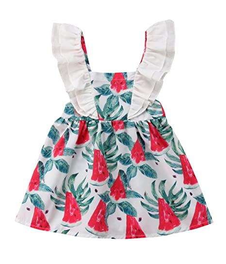4809ccd21838 Andannby Toddler Kids Baby Girl Ruffle Sleeve Watermelon Backless Dresses  Summer Sundress (1T)