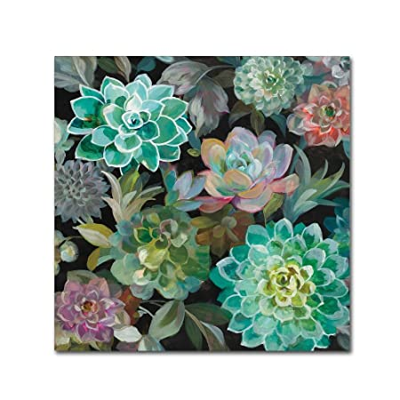 Floral Succulents v2 Crop by Danhui Nai, 24×24-Inch Canvas Wall Art