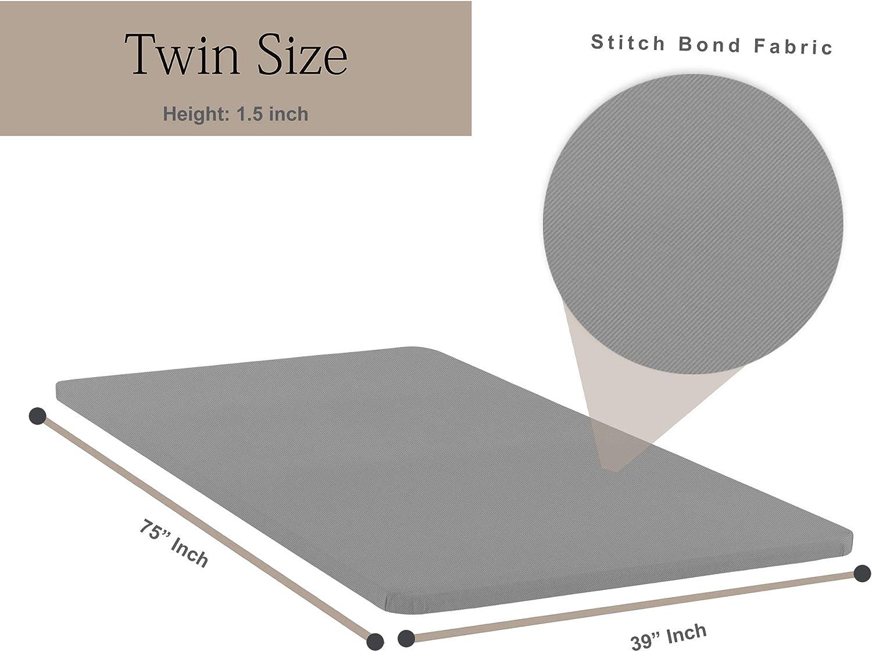 Greaton Wood Bunkie Board Mattress Bed Support, Fits Standard, Twin Size, 74x38x1.5, Grey