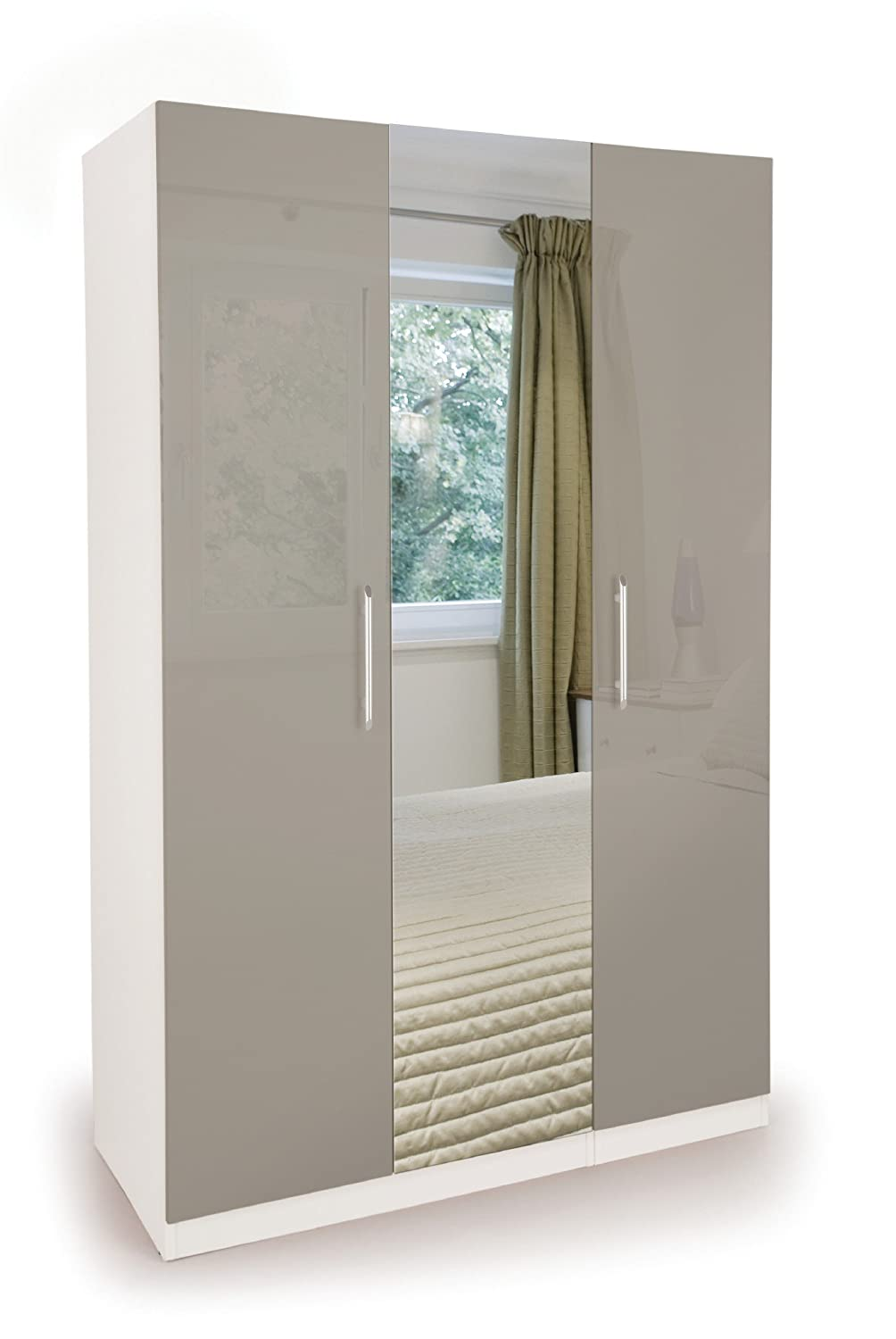 Regal New Modern Combination Wardrobes Set In White Grey High Gloss (1 Door Wardrobe) 2-37-H151020-H170220 Poland
