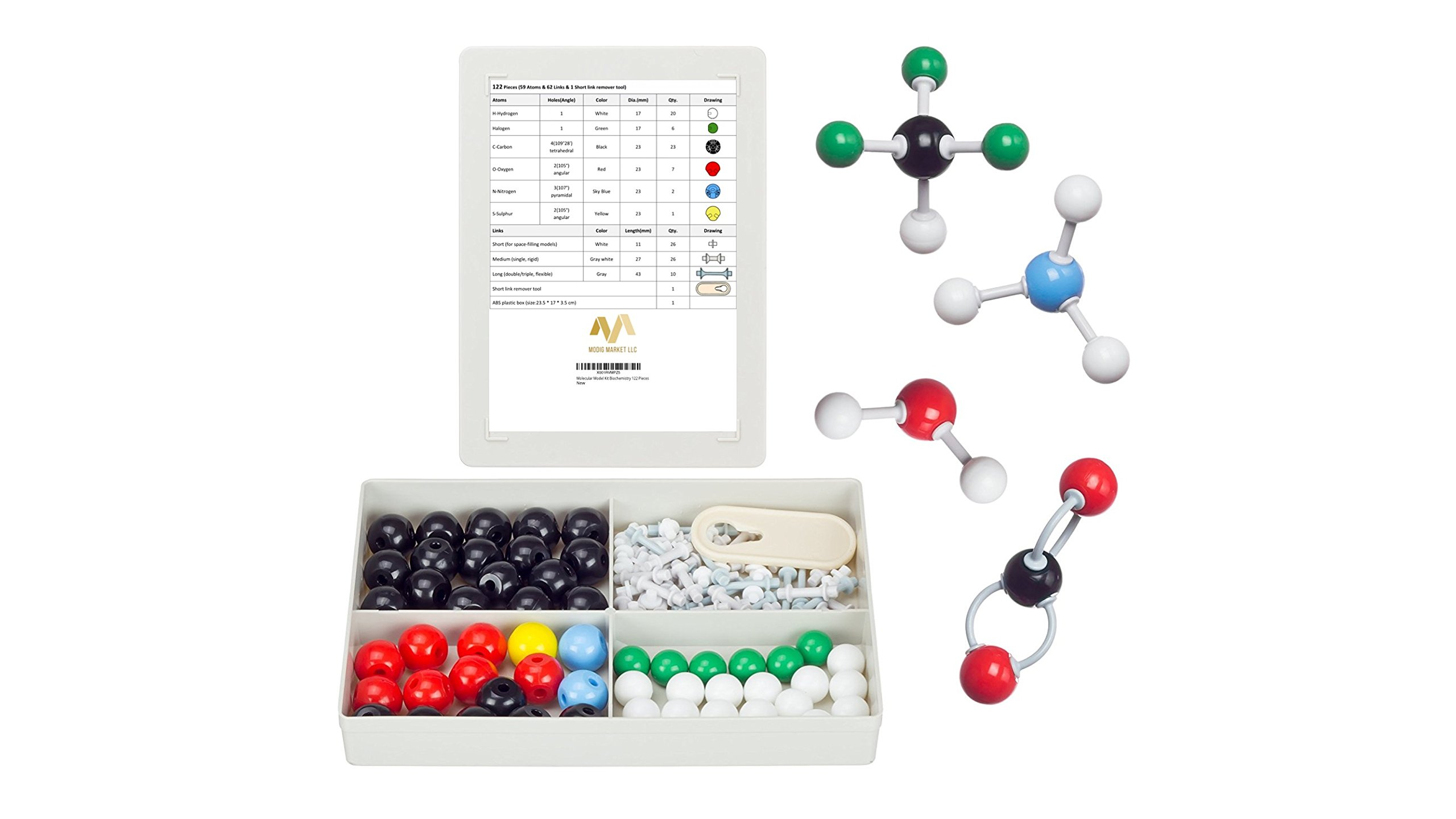 Organic Chemistry Molecular Model Kit (122 Pieces) - Student or Teacher pack with Atoms, Bonds, and Remover