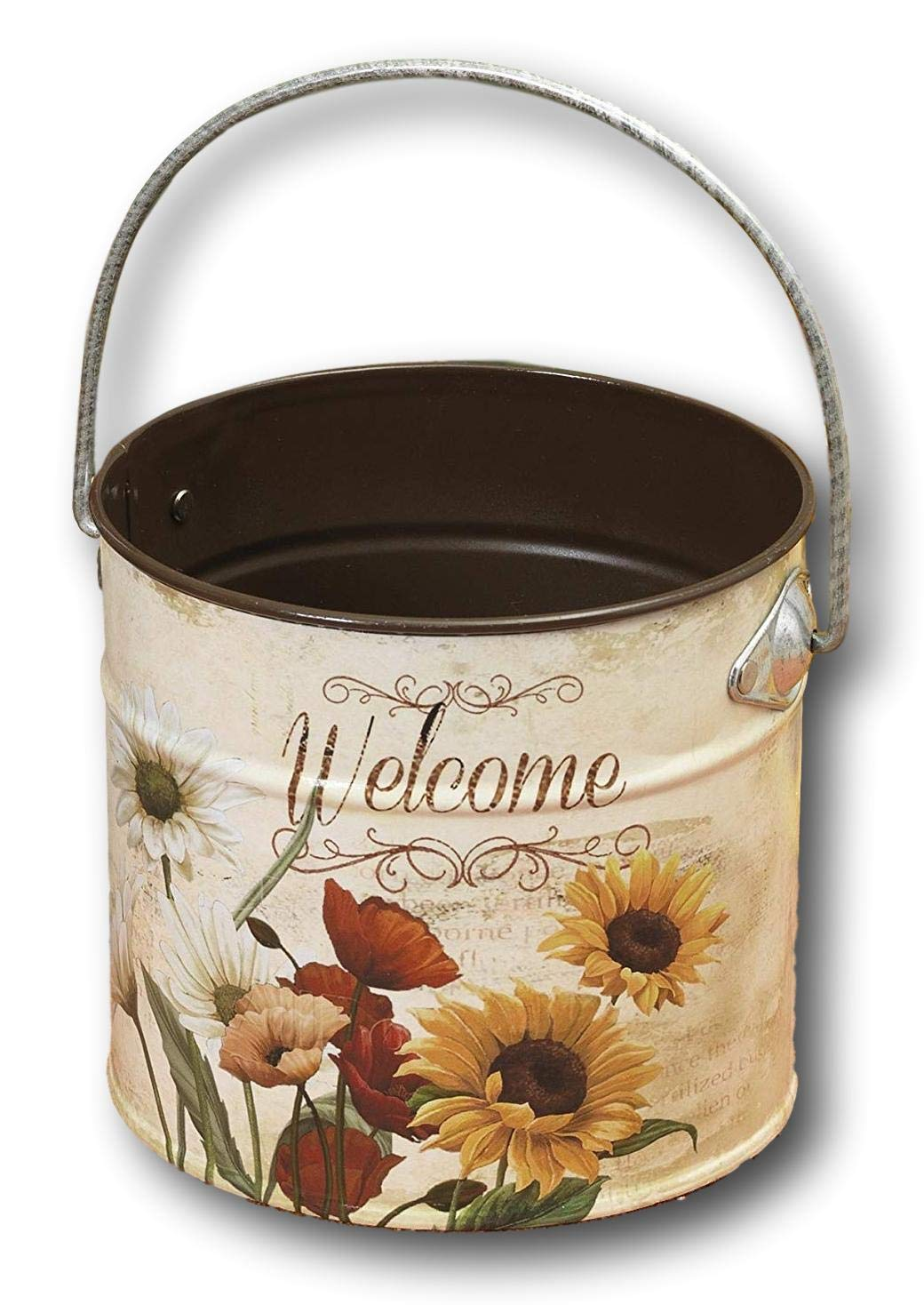 Beautiful 5'' Metal Decorative Floral Welcome Canister Containers Home Garden Decor Kitchen Porch or Patio (White)