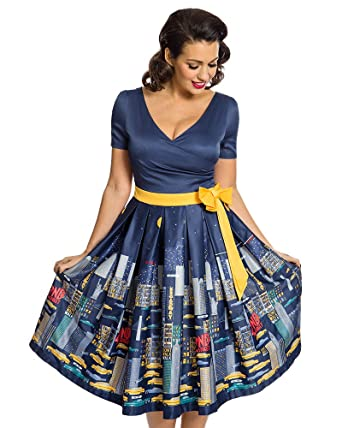 Lindy Bop Gina NYC Navy Swing Dress - 8