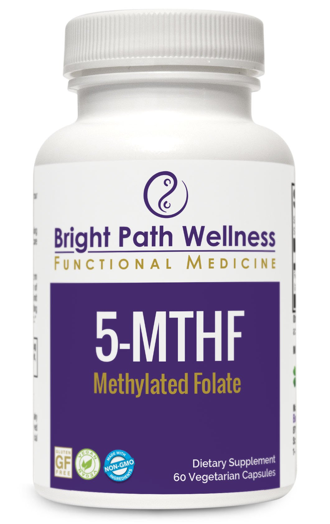 5-MTHF - 60 Capsules - 30 Servings, Non GMO, Gluten Free, Folate 2,000 mcg as 6(S)-5-methyltetrahydrofolic acid, glucosamine salt, Bioactive Folate as Quatrefolic, cGMP, Activated B Vitamins
