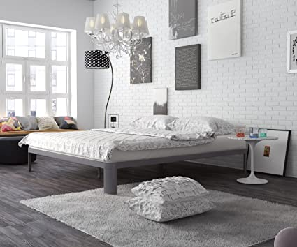 In Style Furnishings Modern Minimalist Low Profile Lunar Platform Bed With Metal  Frame And Strong U0026