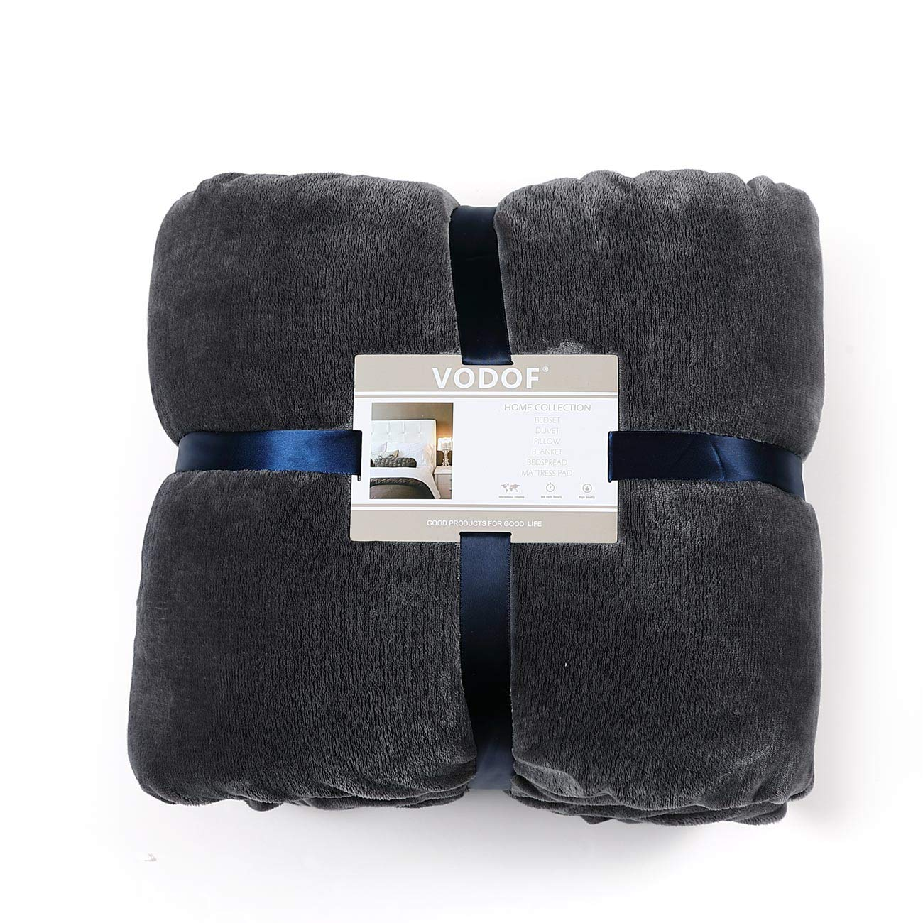 Gray-Pale Yellow, Queen VODOF Luxury Dark Grey Fleece Throw Blanket Bed Blanket Soft Double-Sided Blanket 90x90 in Queen Size Couch Blanket for All Season