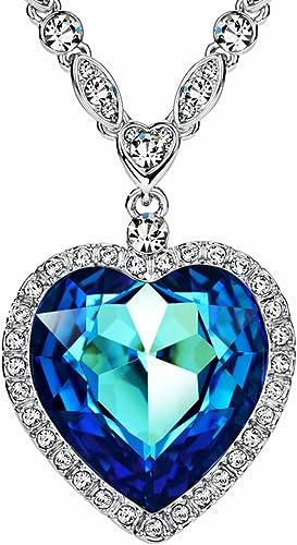 entrevista Percibir si  NEOGLORY Collar Corazón de Mar Love Heart con Cristales Swarovski Azul Joya  Original Regalo Mujer: Amazon.es: Joyería