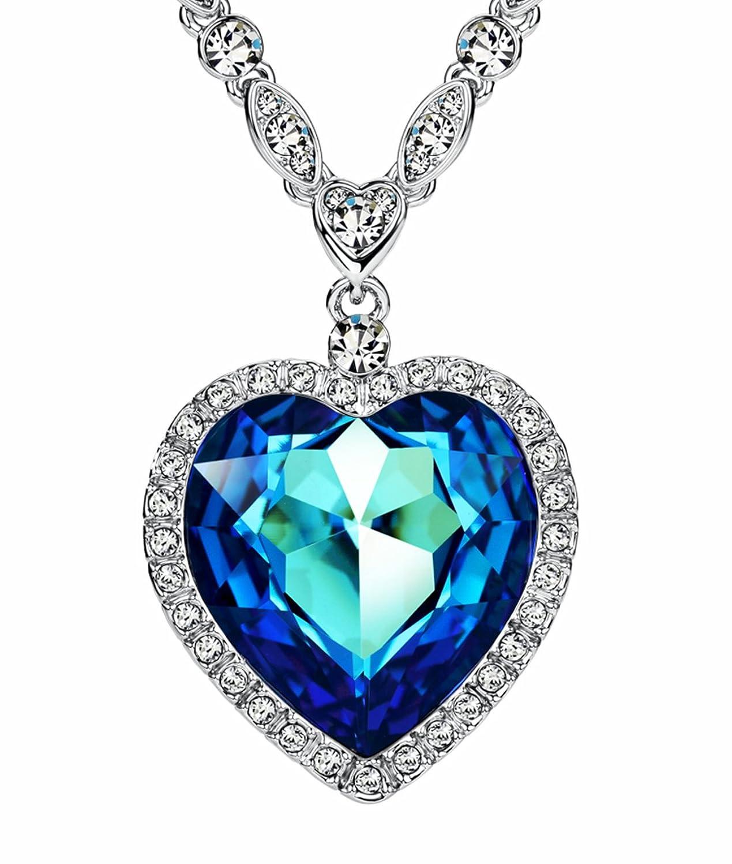 NEOGLORY Collar Corazón de Mar Love Heart con Cristales SWAROVSKI AZUL Joya