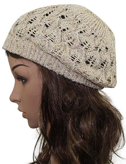 49863bbb611be MINAKOLIFE Women Bright Sequins Crochet Braided Knit Beret Baggy Beanie Ski  Cap Hat Beige