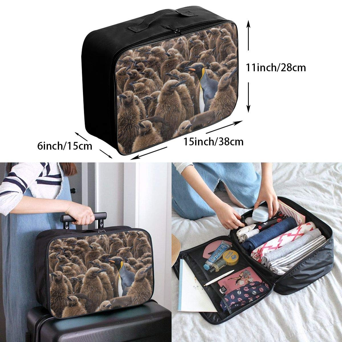Travel Luggage Duffle Bag Lightweight Portable Handbag Penguins Large Capacity Waterproof Foldable Storage Tote