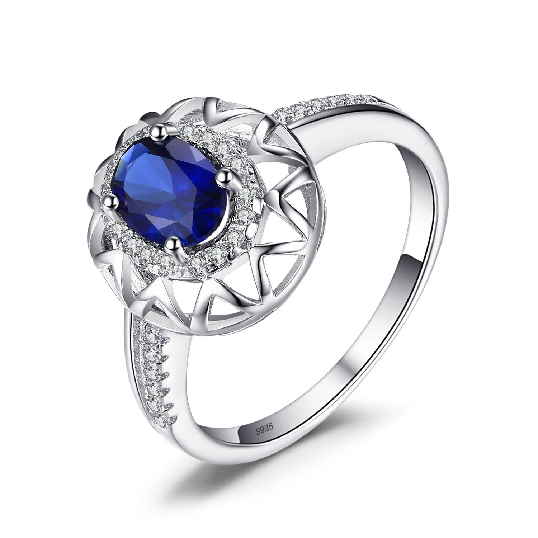 JewelryPalace 1.24CT Elégant Bijoux Bleu Bague Femme en Argent 925 en Saphir de Synthèse EU-045863CLR