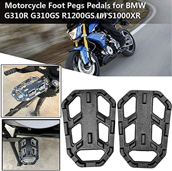 R Nine T 2016-2017 S1000XR 2015-2017 GZYF Motorcycle CNC Front Wide Foot Pegs Footrests Compatible with BMW G310GS // G310R 2017-2018 R1200GS LC 2013-2017 Black