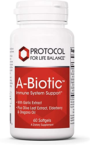 Protocol For Life Balance – A-Biotic – Immune System Support, Healthy Digestion, with Garlic, Olive Leaf, Elderberry and Oregano Oil – 60 Softgels
