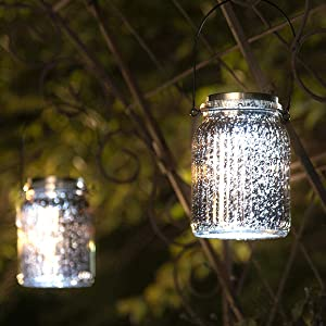 SOLPEX Solar Mercury Glass Jar Lights, 2 Pack Hanging Solar Table Lamps Indoor Outdoor Lights, Solar Mason Jar Hanging Lights Waterproof for Table, Garden, Patio, Lawn Decorations