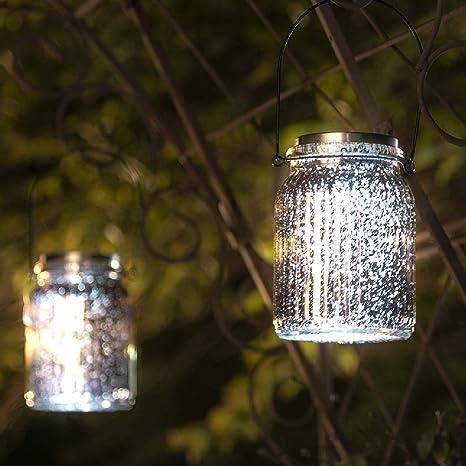 Solar Mercury Glass Mason Jar Light Outdoor Lawn Hanging Tabletop Lantern