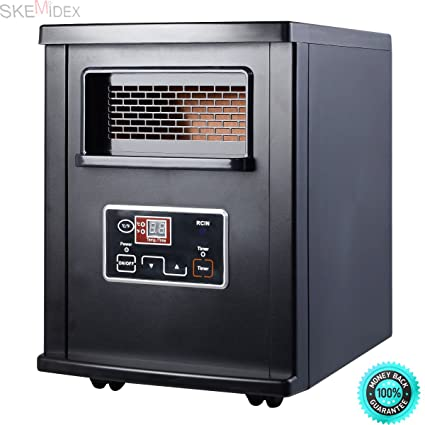 SKEMIDEX---1500W Electric Portable Infrared Quartz Space Heater Remote Black New And space