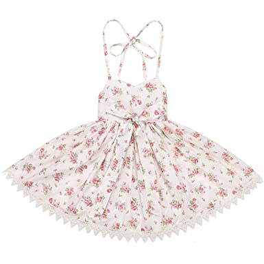 0108b2574b Flofallzique Vintage Floral Girls Dress Cream Birthday Party Backless Boho  Sundress for Toddler(1)