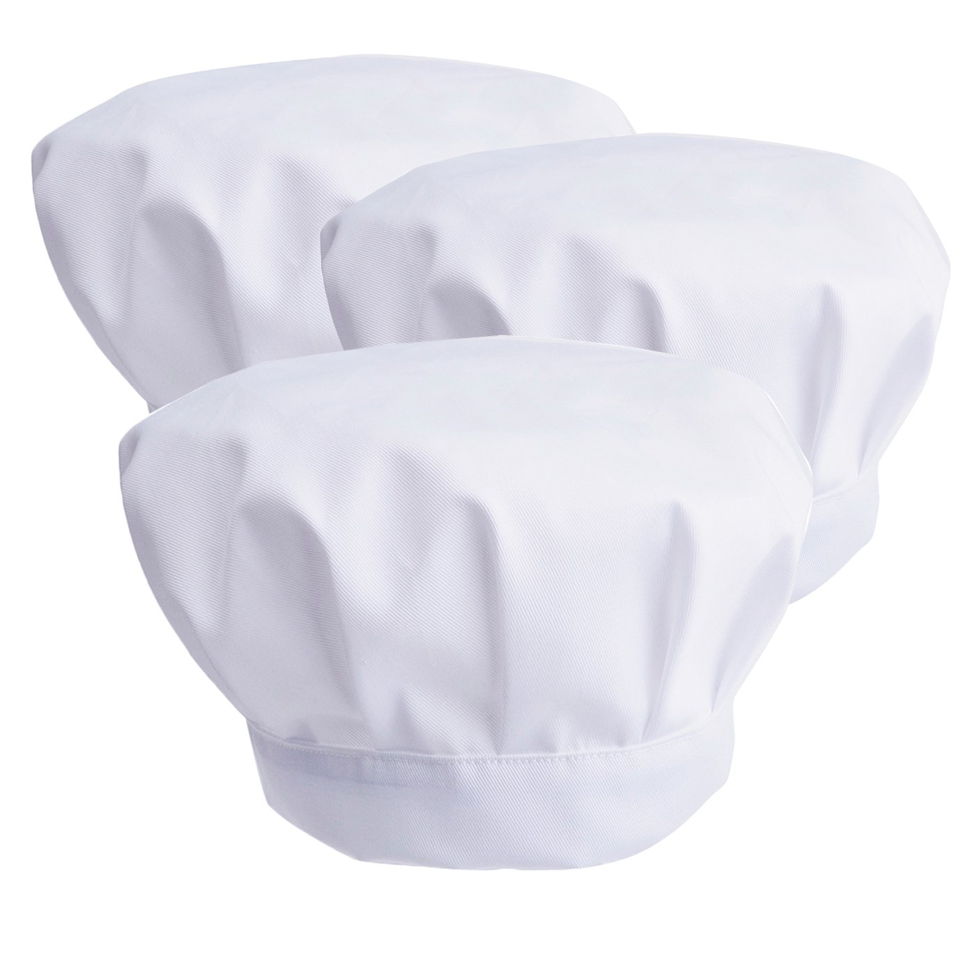 JoyFamily Chef Hats with Comfortable Durable Soft Materials and Adjustable Size for Adults, Children (3 Pack, White)