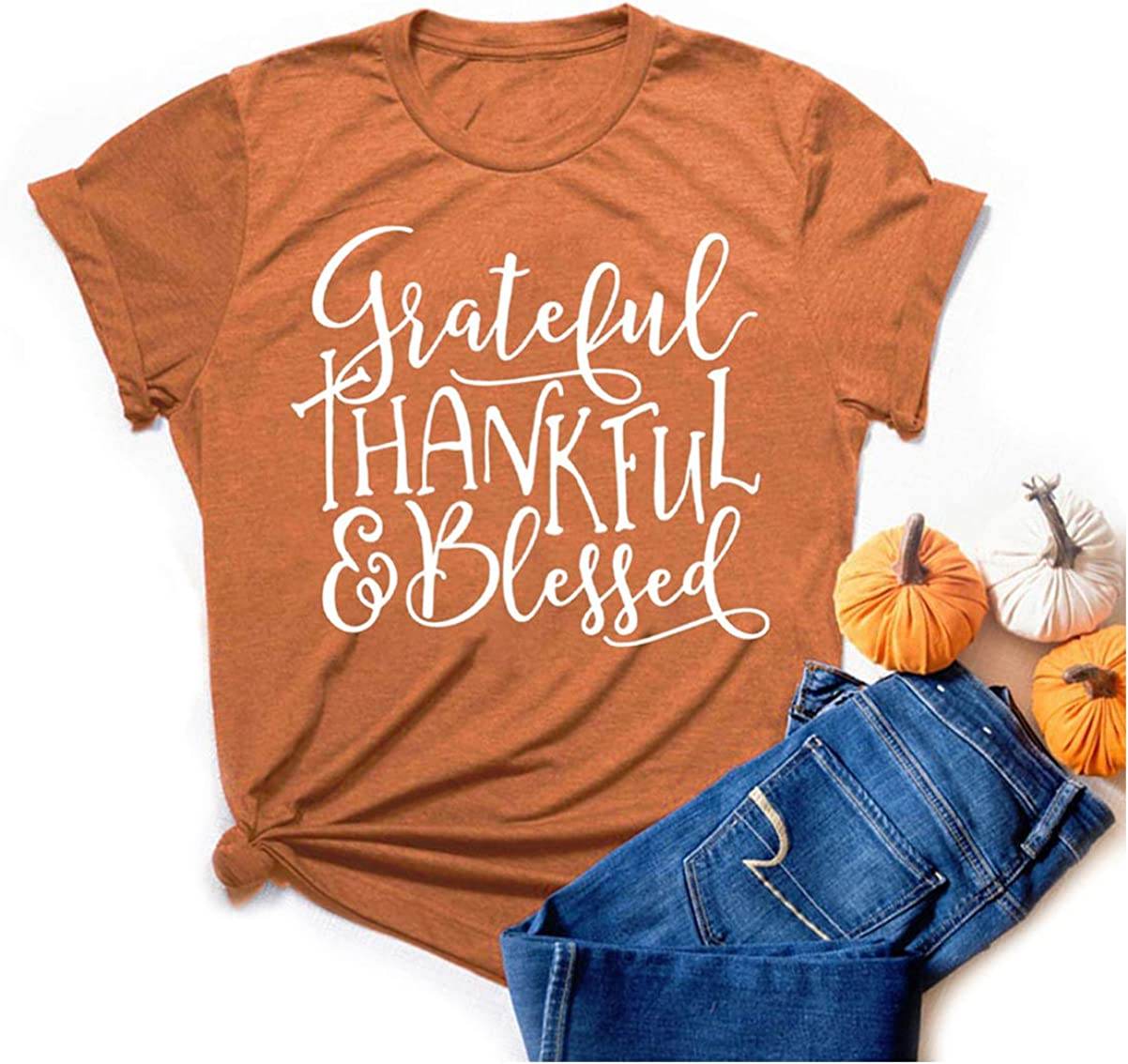 CYNICISMILE Grateful Thankful Blessed Thanksgiving Shirts for Women Short Sleeve Tops Tee