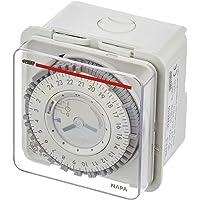 Vemer Vp884100 tijdschakelaar, elektromechanisch, napa-d, wandlamp of paneel, wit/grijs