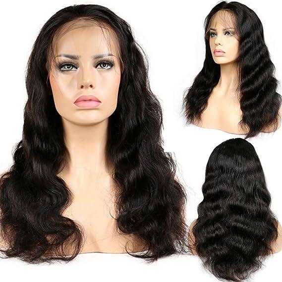 Peluca de grado 7A de pelo brasileño virgen, pelo humano, sin pegamento, con encaje delantero y baby hair, para mujeres, negra: Amazon.es: Belleza