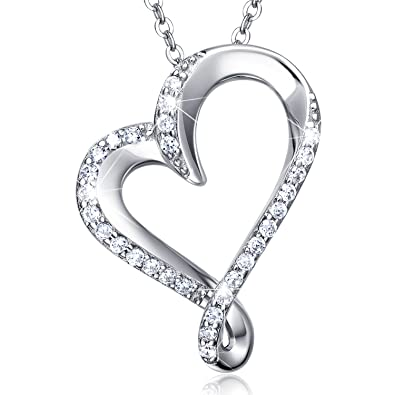 Sterling Silver Infinity Heart Necklace Billie Bijoux Endlessness Love Platinum Plated Diamond Pendant Valentine's Day Gift Y0Xx97Q