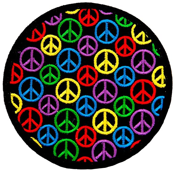 Amazon Multi Colored Peace Sign Embroidered Patch Hippie Symbol