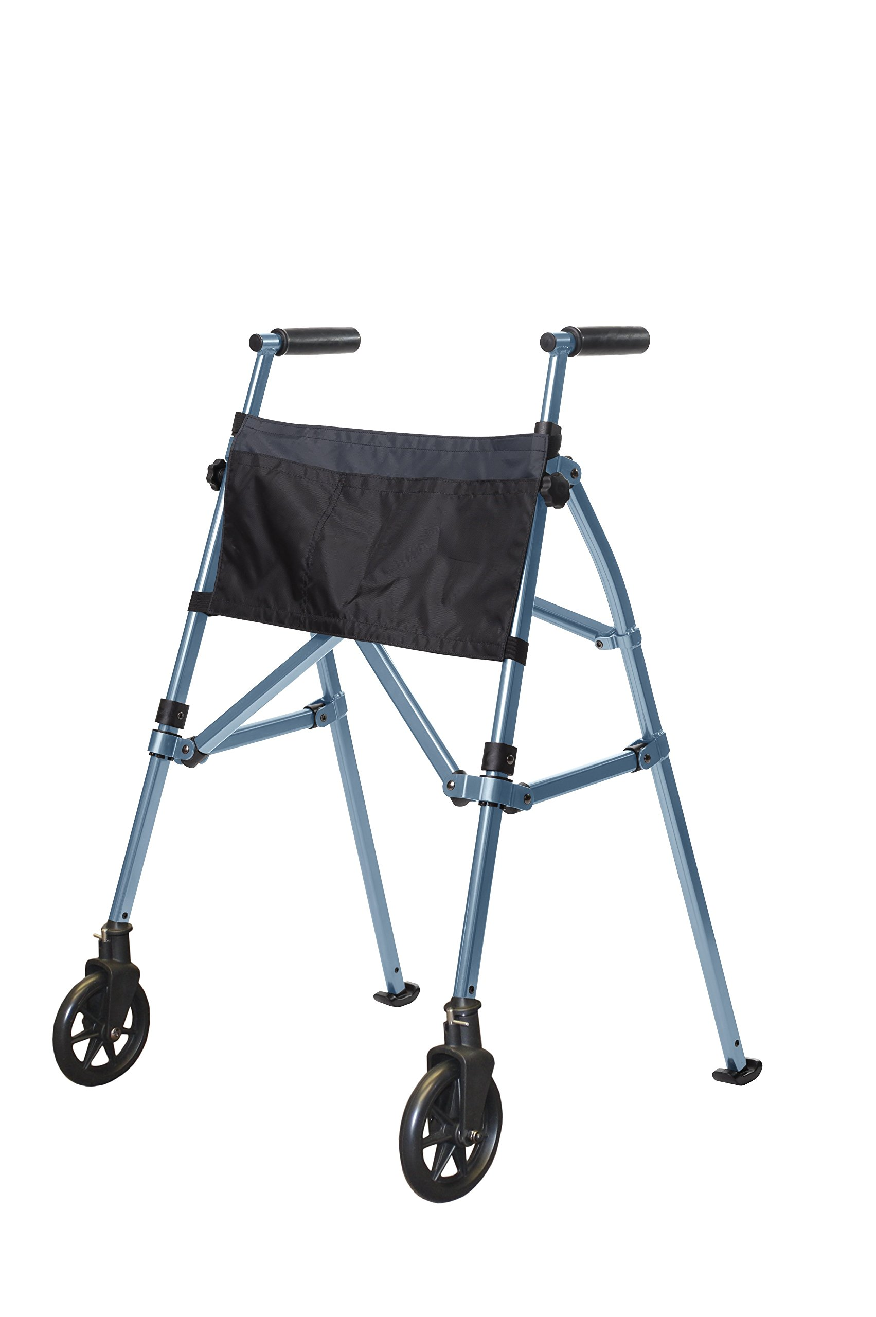 Stander EZ Fold-N-Go Walker - Lightweight Folding & Height Adjustable Adult Travel Walker for Seniors + Locking Swivel Wheels & Pouch -Cobalt Blue