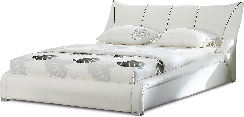 Cama en Piel Blanca con somier 160x200 cm Nantes