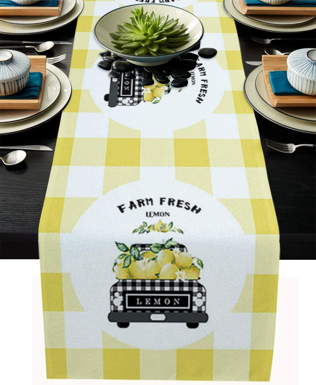Holiday Table Runner Cotton-Burlap Linen 72 Inches Long Check Truck with Fresh Lemons Yellow White Grid Waterproof Dining Table Decor for Farmhouse Wedding Banquet Party Decor Dress Scarf 16''x 72''