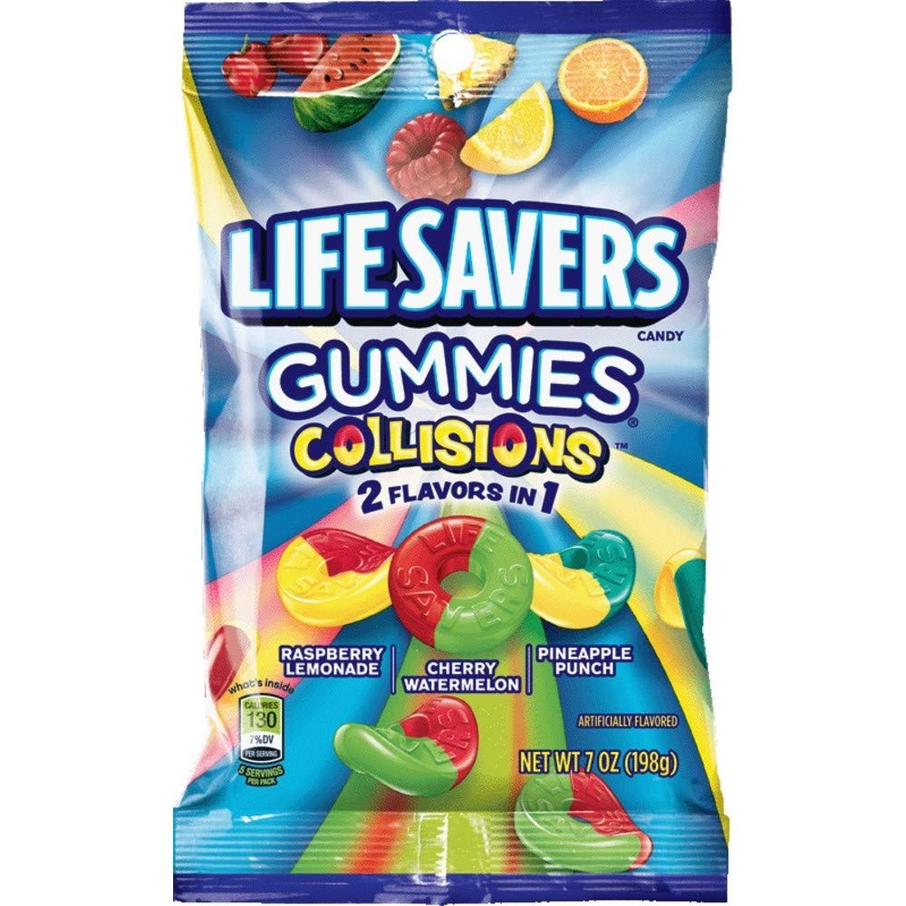 Gummi Savers Lifesavers Gummies Collisions Assorted Flavors, 7 oz